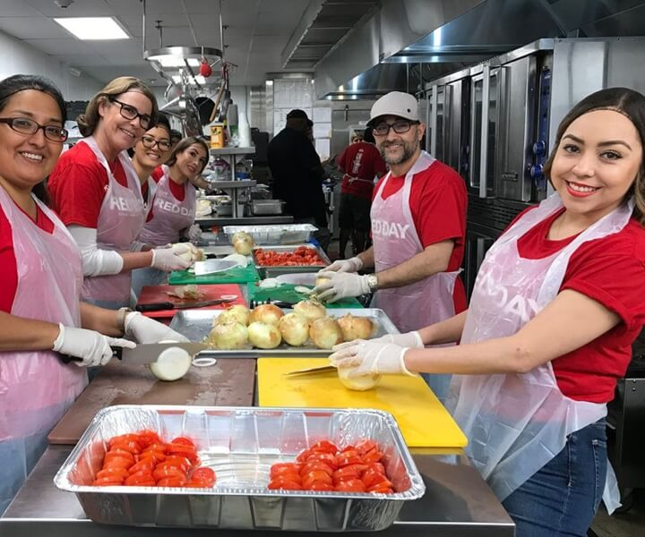 Food preparation workers making meals